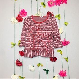 Anthropologie Moth Lovehorn Red cardigan size L.